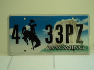 WYOMING Bucking Bronco Devils Tower License Plate 4 33PZ