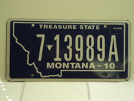 2010 MONTANA Treasure State License Plate 7 13989A