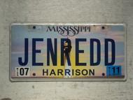 2011 MISSISSIPI Vanity License Plate JENREDD