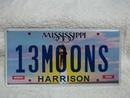 Mississippi Vanity 13MOONS License Plate