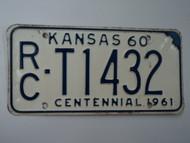1960 KANSAS 1961 Centennial Truck License Plate RC T1432