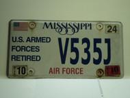 2010 MISSISSIPPI US AIR Force Retired License Plate V535J