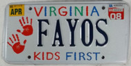 2008 Virginia Vanity FAYOS Kids License Plate