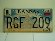 2004 KANSAS Capitol Truck License Plate RGF 209