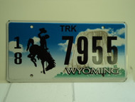 WYOMING Bucking Bronco Devils Tower Truck License Plate 18 7955 1