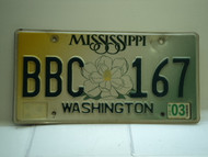 2003 MISSISSIPPI Magnolia License Plate BBC 167