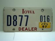 2007 IOWA Dealer License Plate  D877 016
