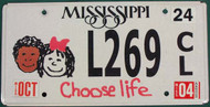 2004 Oct Mississippi Choose Life License Plate