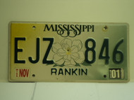 2001 MISSISSIPPI License Plate EJZ 846