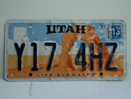 2014 UTAH Life Elevated License Plate Y17 4HZ
