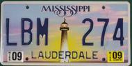 2009 Sep Mississippi LBM 274 License Plate