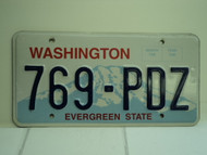 WASHINGTON Evergreen State License Plate 769 PDZ