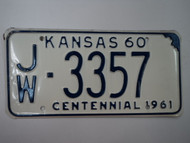 1960 KANSAS 1961 Centennial License Plate JW 3357