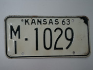 1963 KANSAS License Plate MI 1029
