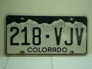 COLORADO License Plate 218 VJV