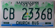 Mississippi Church Bus CB 23368 License Plate