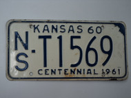 1960 KANSAS 1961 Centennial Truck License Plate NS T1569