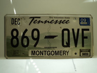 2009 TENNESSEE Volunteer State License Plate 869 QVF
