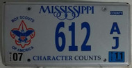 2011 612 Boy Scouts of America Mississippi License Plate