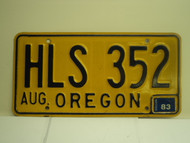 1983 OREGON License Plate HLS 352