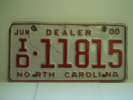 2000 NORTH CAROLINA Dealer License Plate ID 11815