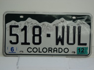 2012 COLORADO License Plate 518 WUL