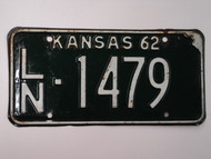 1962 KANSAS License Plate LN 1479