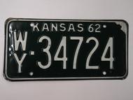 1962 KANSAS License Plate WY 34724