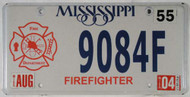 2004 Aug Mississippi Firefighter License Plate