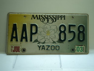 2003 MISSISSIPPI Magnolia License Plate AAP 858