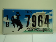 WYOMING Bucking Bronco Devils Tower Truck License Plate 18 7964 1