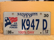 2012 Mississippi 100% DAV US Armed Forces K947 D License Plate