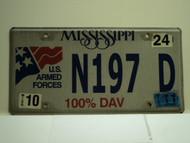2011 MISSISSIPPI 100% DAV License Plate N197 D