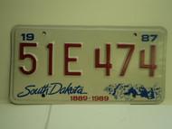 1987 SOUTH DAKOTA Centennial 1889 1989 License Plate 51E 474
