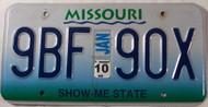 2010 Jan Missouri 9BF 90X License Plate