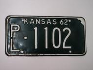 1962 KANSAS License Plate PL 1102