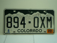2009 COLORADO License Plate 894 OXM