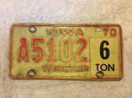 1970 Iowa A5102 Tractor 6 ton License Plate