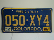 2006 COLORADO Public Utility License Plate 050 XY4