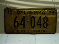 1975 OKLAHOMA Travel Trailer License Plate 64 048