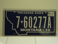 2010 2012 MONTANA Treasure State License Plate 7 60277A