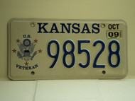 2009 KANSAS US Veteran License Plate 98528