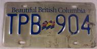 Beautiful British Columbia License Plate TPB 904