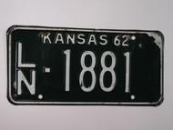 1962 KANSAS License Plate LN 1881