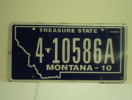 2010 MONTANA Treasure State License Plate 4 10586A