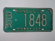 1970 KANSAS License Plate BR 1848