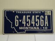 2010 2013 MONTANA Treasure State License Plate 6 45456A