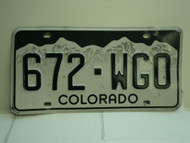 COLORADO License Plate 672 WGO