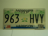 2007 MISSISSIPPI License Plate 963 HVY