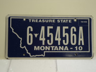2010 MONTANA Treasure State License Plate 6 45456A